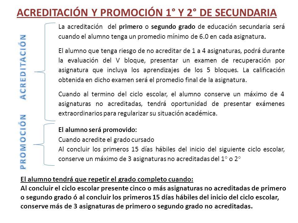 ACREDITACIÓN Y PROMOCIÓN 1° Y 2° DE SECUNDARIA