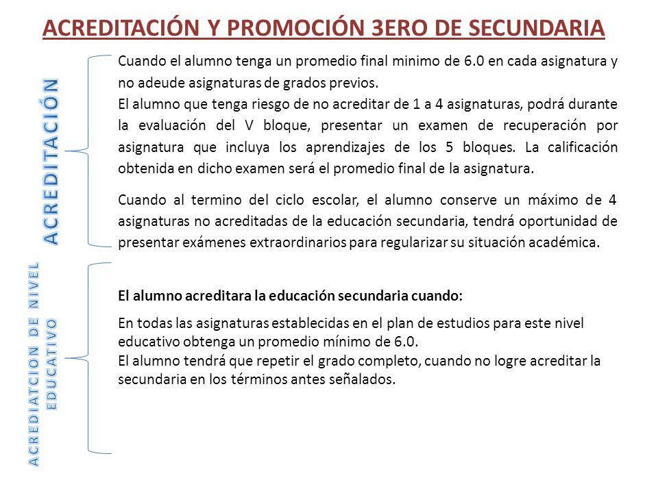 ACREDITACIÓN Y PROMOCIÓN 3ERO DE SECUNDARIA