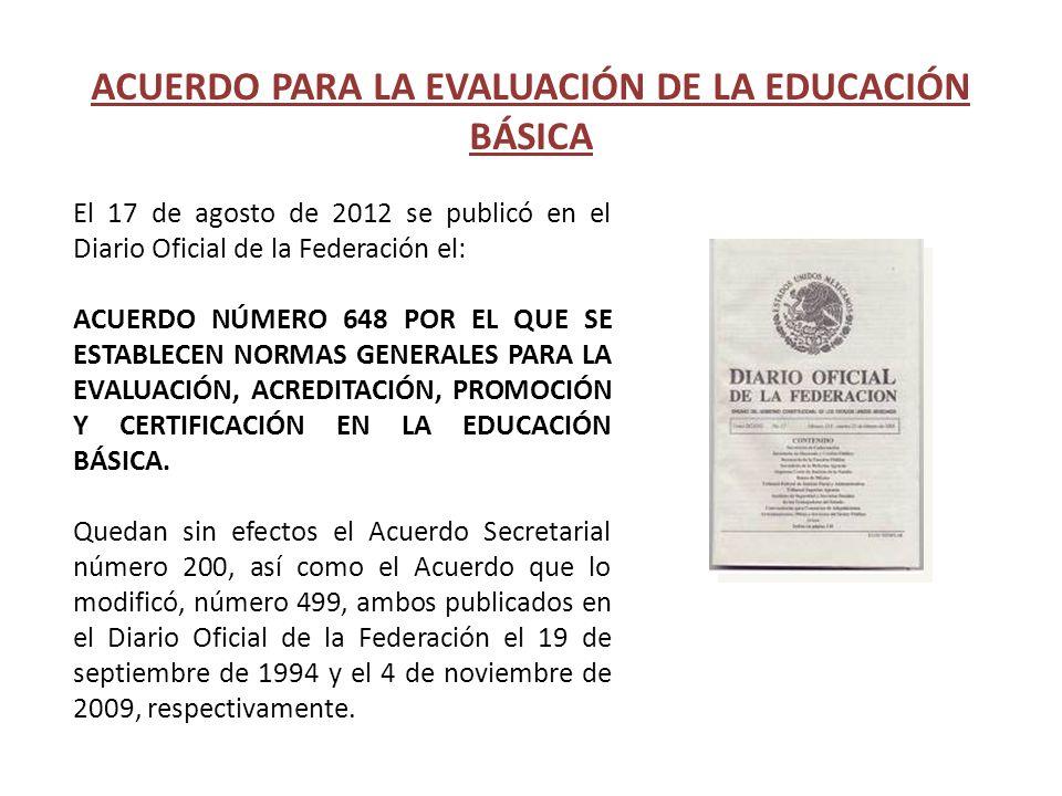 ACUERDO PARA LA EVALUACIÓN DE LA EDUCACIÓN BÁSICA