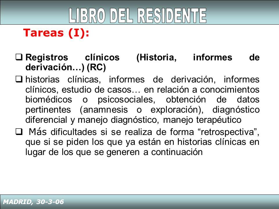 LIBRO DEL RESIDENTE Tareas (I):
