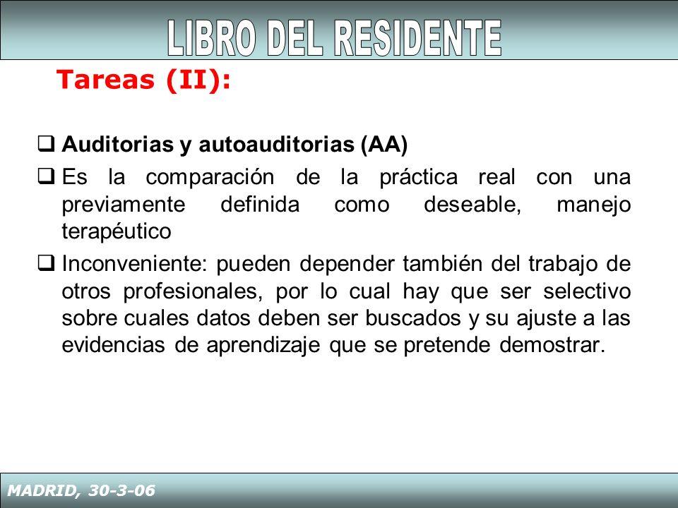 LIBRO DEL RESIDENTE Tareas (II): Auditorias y autoauditorias (AA)