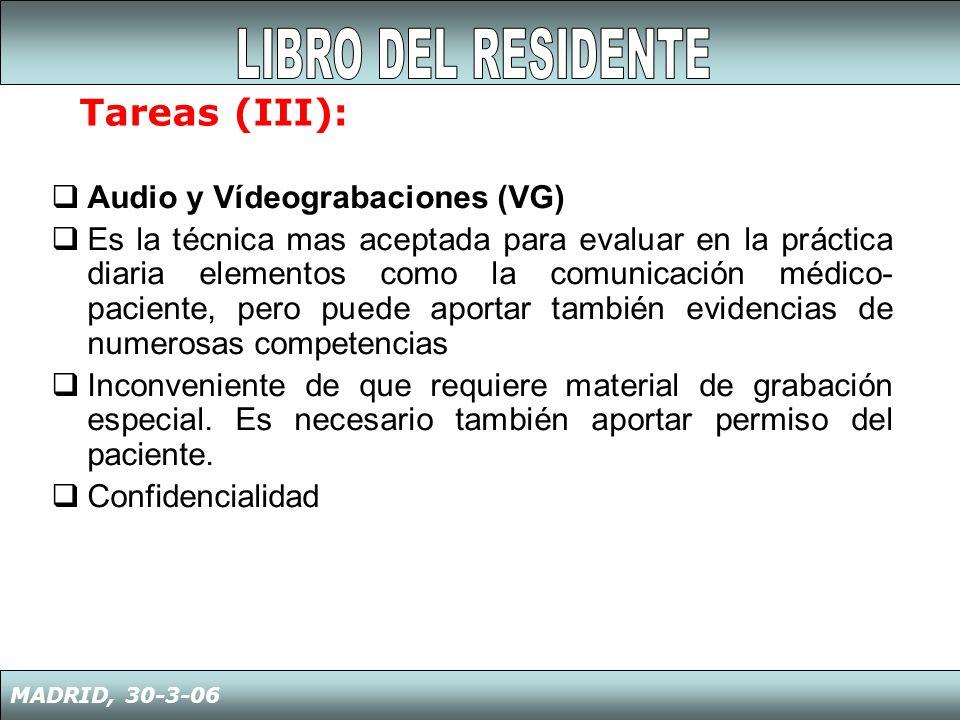LIBRO DEL RESIDENTE Tareas (III): Audio y Vídeograbaciones (VG)