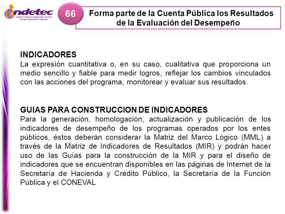 66 Forma parte de la Cuenta Pública los Resultados de la Evaluación del Desempeño. INDICADORES.