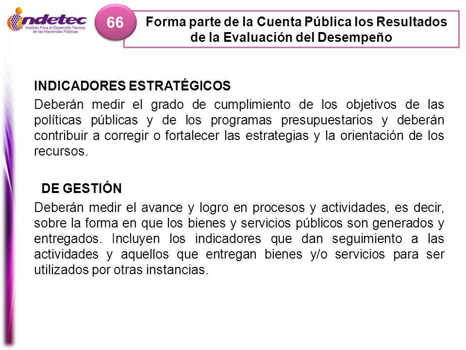 66 Forma parte de la Cuenta Pública los Resultados de la Evaluación del Desempeño. INDICADORES ESTRATÉGICOS.