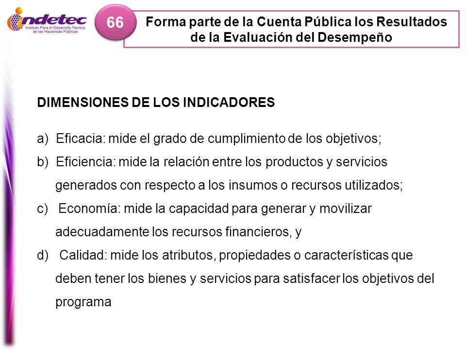 66 Forma parte de la Cuenta Pública los Resultados de la Evaluación del Desempeño. DIMENSIONES DE LOS INDICADORES.