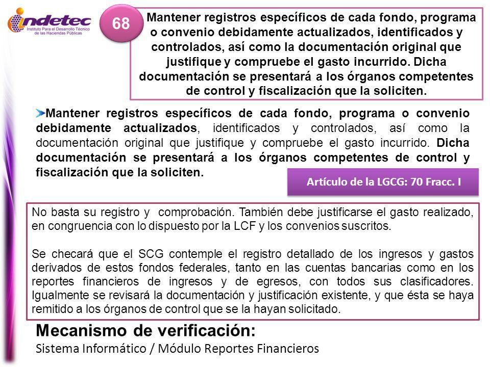 Artículo de la LGCG: 70 Fracc. I
