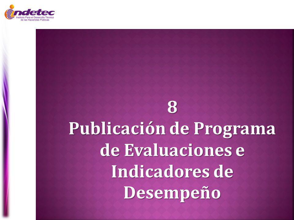 Publicación de Programa de Evaluaciones e Indicadores de Desempeño