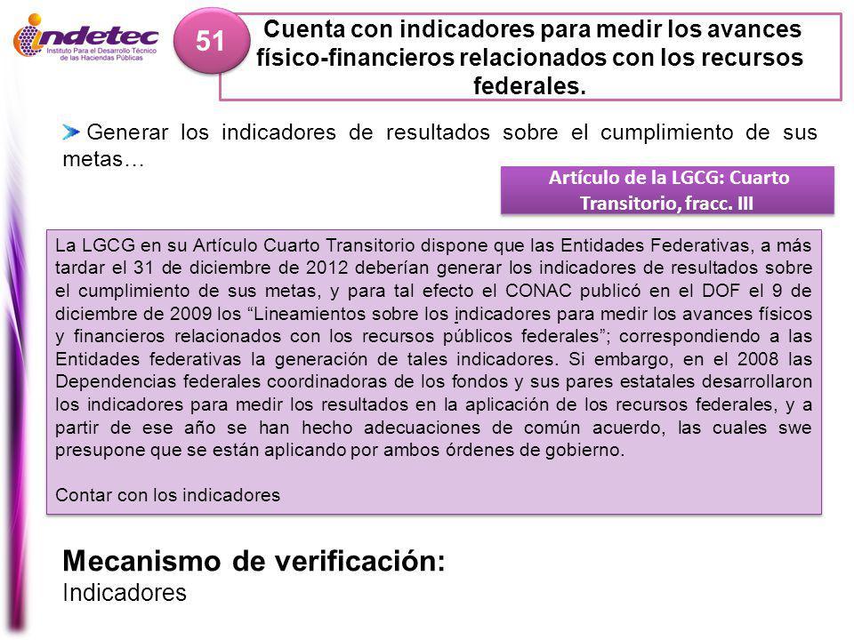 Artículo de la LGCG: Cuarto Transitorio, fracc. III