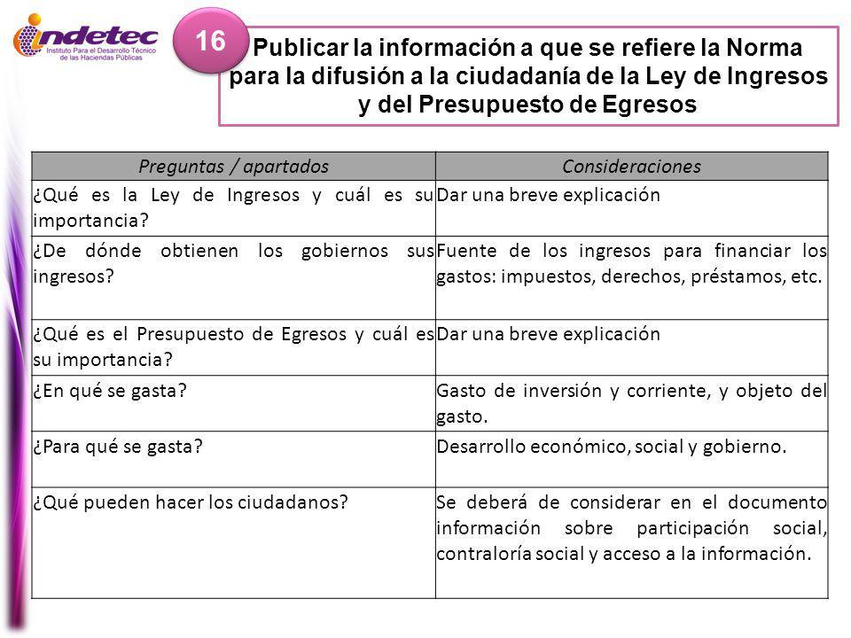 16 Publicar la información a que se refiere la Norma para la difusión a la ciudadanía de la Ley de Ingresos y del Presupuesto de Egresos.