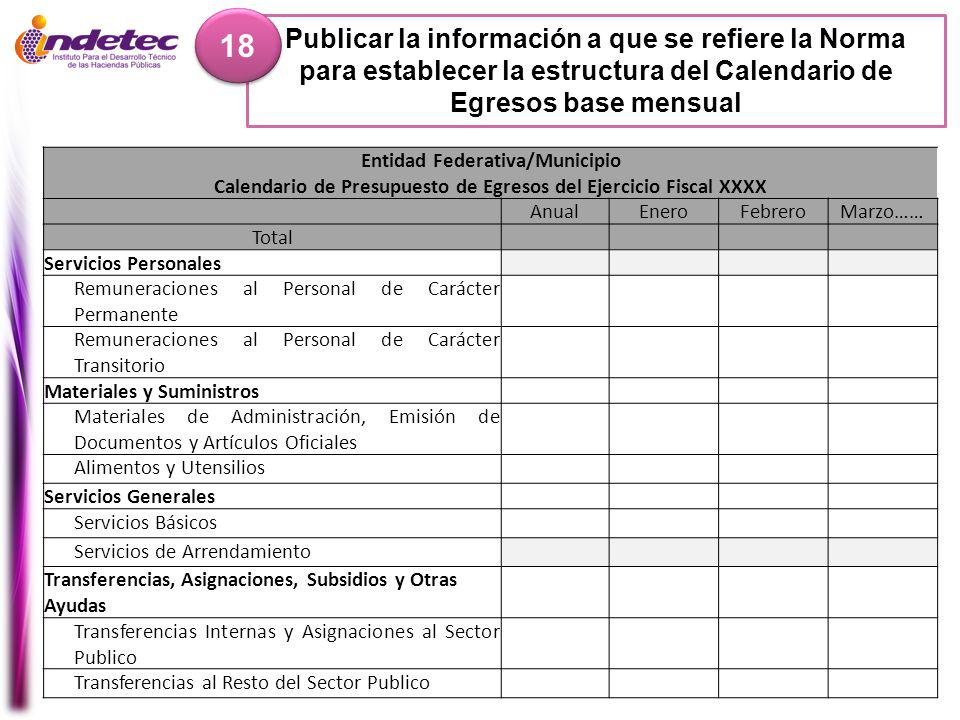 18 Publicar la información a que se refiere la Norma para establecer la estructura del Calendario de Egresos base mensual.