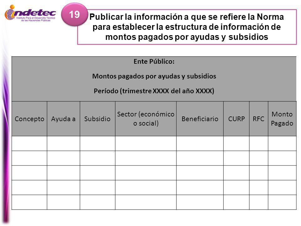 19 Publicar la información a que se refiere la Norma para establecer la estructura de información de montos pagados por ayudas y subsidios.