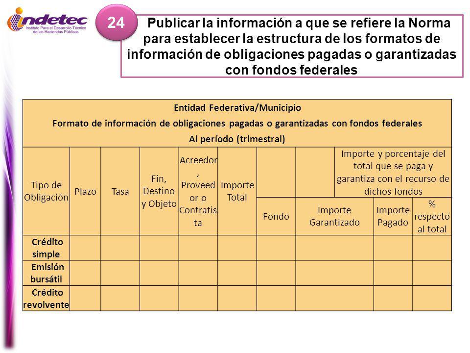 Entidad Federativa/Municipio Al período (trimestral)