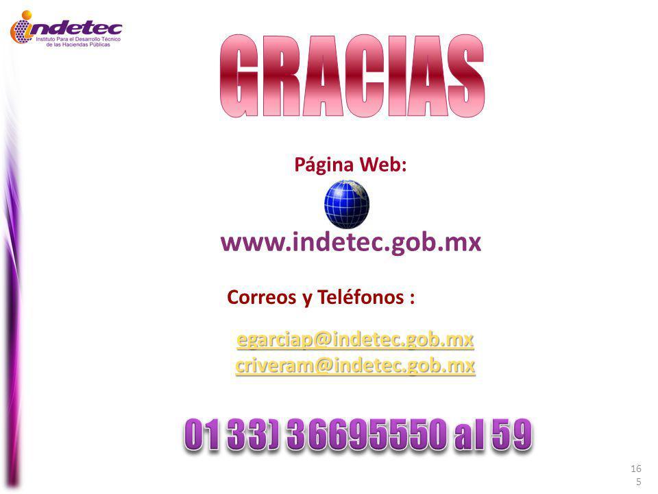 GRACIAS www.indetec.gob.mx Página Web: Correos y Teléfonos :