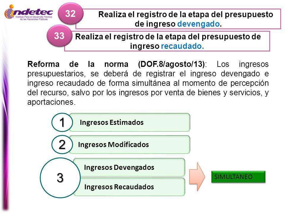 32 Realiza el registro de la etapa del presupuesto de ingreso devengado. 33. Realiza el registro de la etapa del presupuesto de ingreso recaudado.