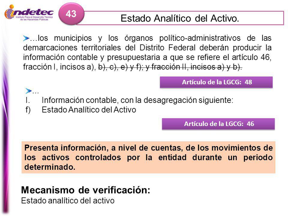 Estado Analítico del Activo.