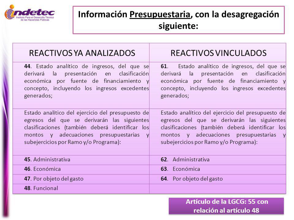 Información Presupuestaria, con la desagregación siguiente: