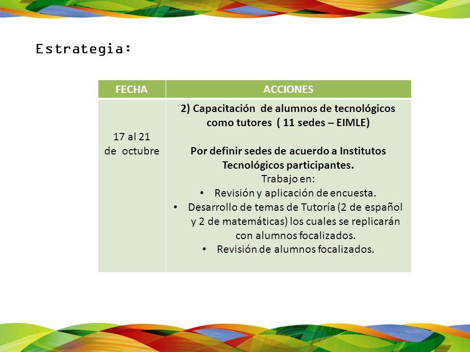 Por definir sedes de acuerdo a Institutos Tecnológicos participantes.