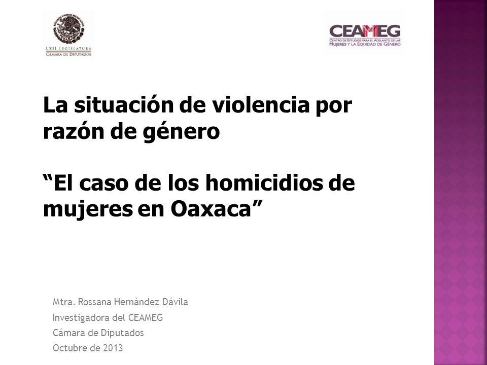 La situación de violencia por razón de género El caso de los homicidios de mujeres en Oaxaca