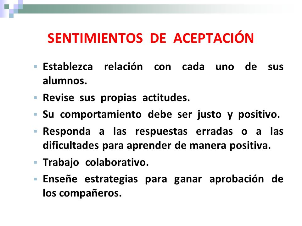 SENTIMIENTOS DE ACEPTACIÓN
