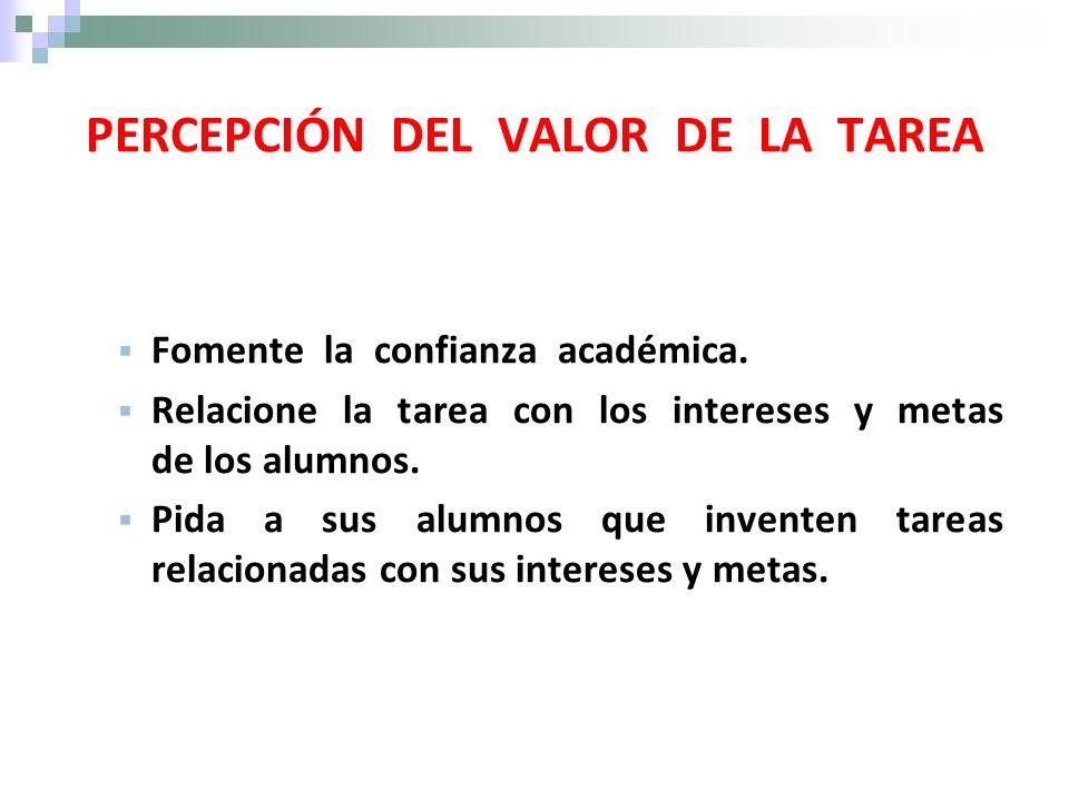 PERCEPCIÓN DEL VALOR DE LA TAREA
