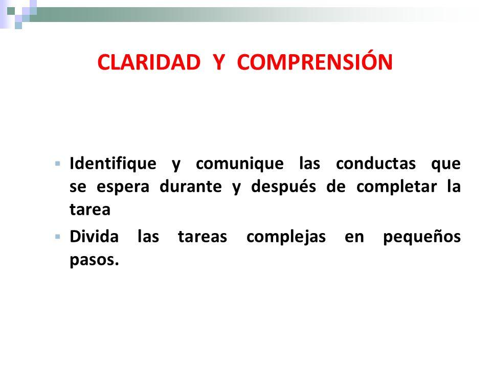 CLARIDAD Y COMPRENSIÓN