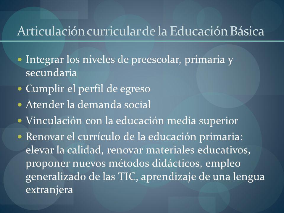 Articulación curricular de la Educación Básica