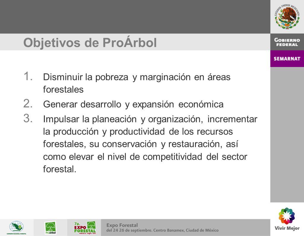 Objetivos de ProÁrbol Disminuir la pobreza y marginación en áreas forestales. Generar desarrollo y expansión económica.