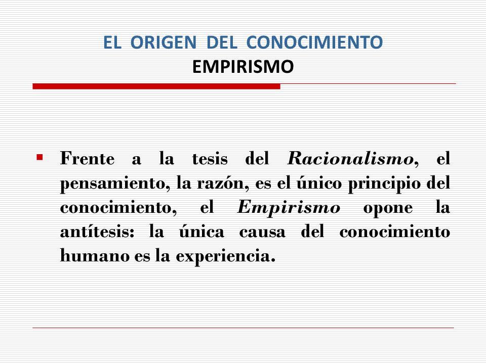 EL ORIGEN DEL CONOCIMIENTO EMPIRISMO