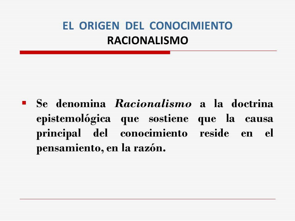 EL ORIGEN DEL CONOCIMIENTO RACIONALISMO