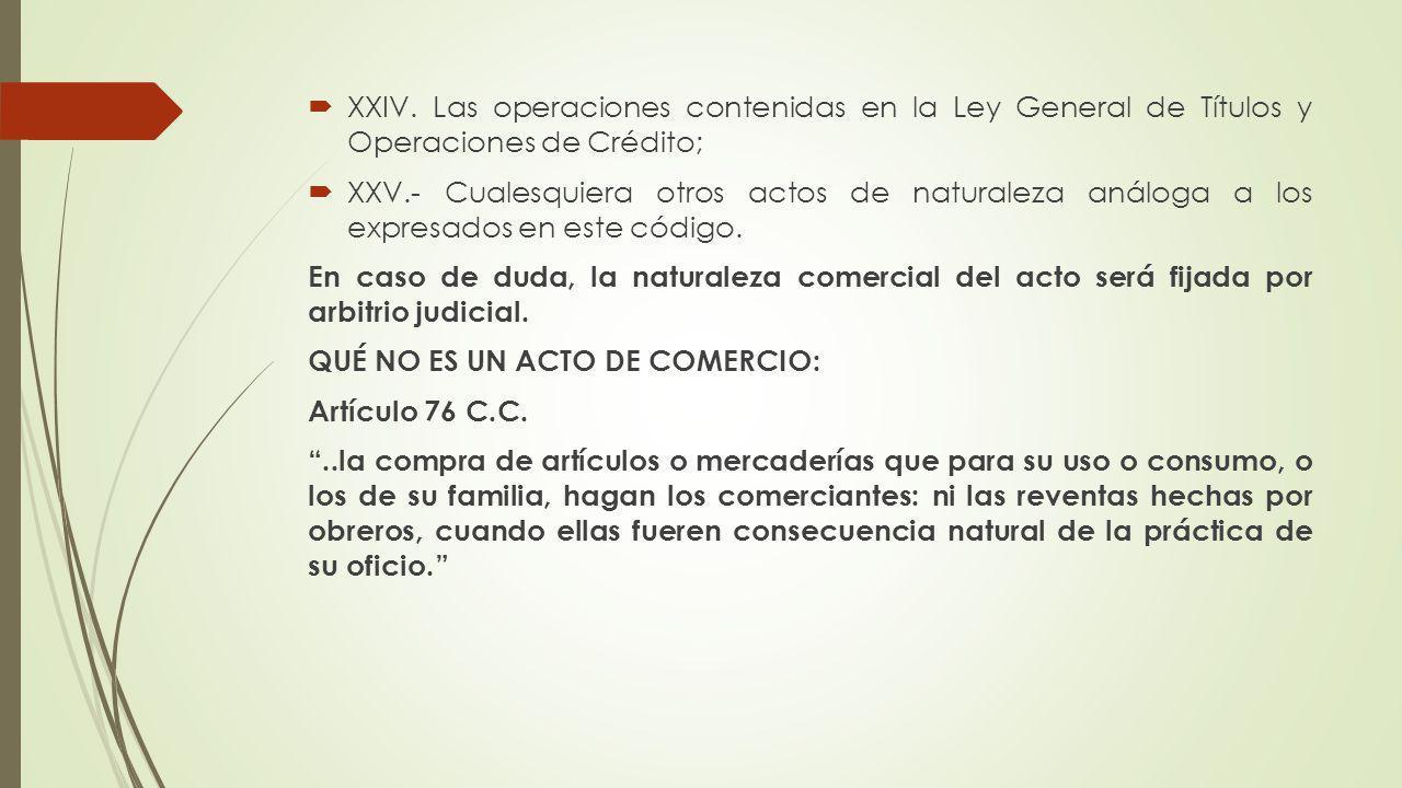 XXIV. Las operaciones contenidas en la Ley General de Títulos y Operaciones de Crédito;