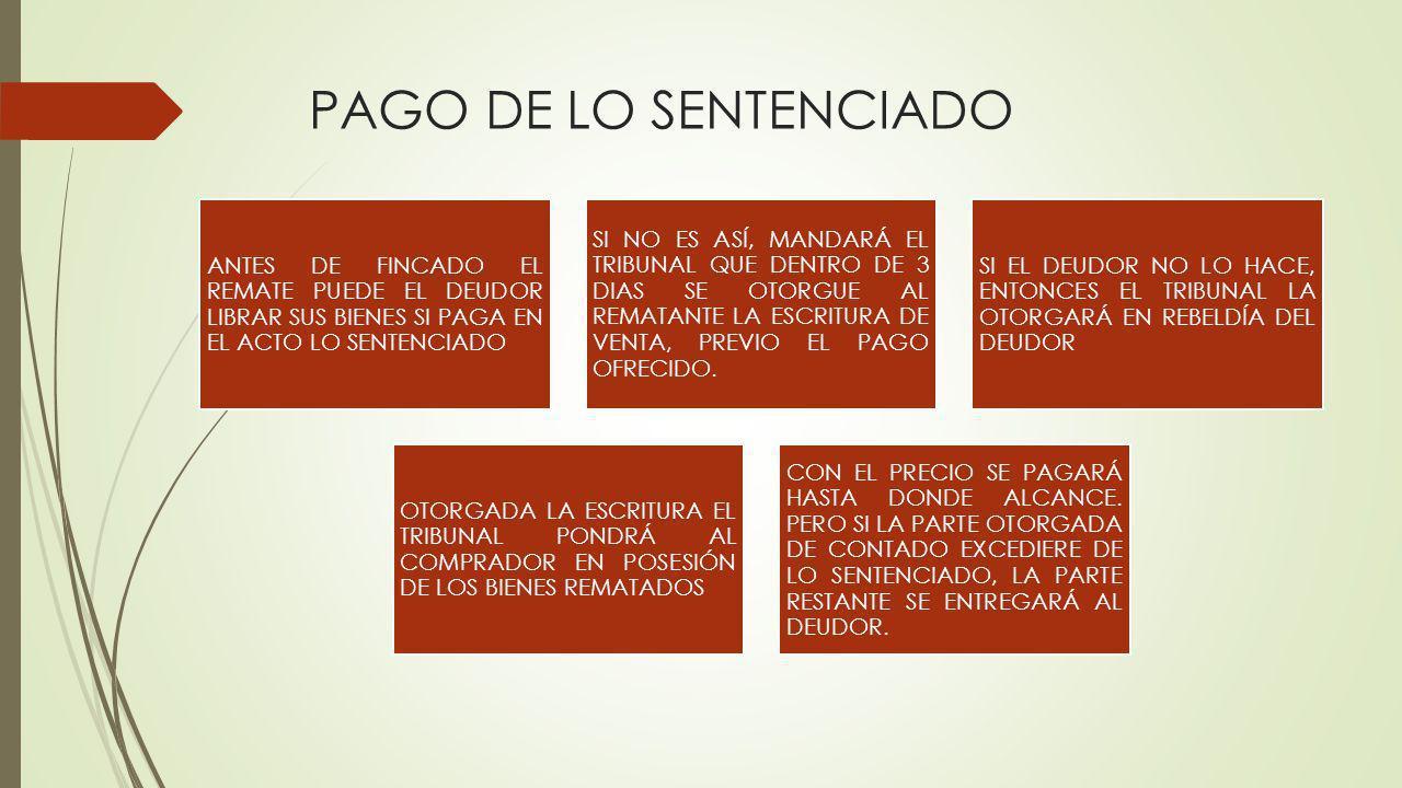 PAGO DE LO SENTENCIADO ANTES DE FINCADO EL REMATE PUEDE EL DEUDOR LIBRAR SUS BIENES SI PAGA EN EL ACTO LO SENTENCIADO.