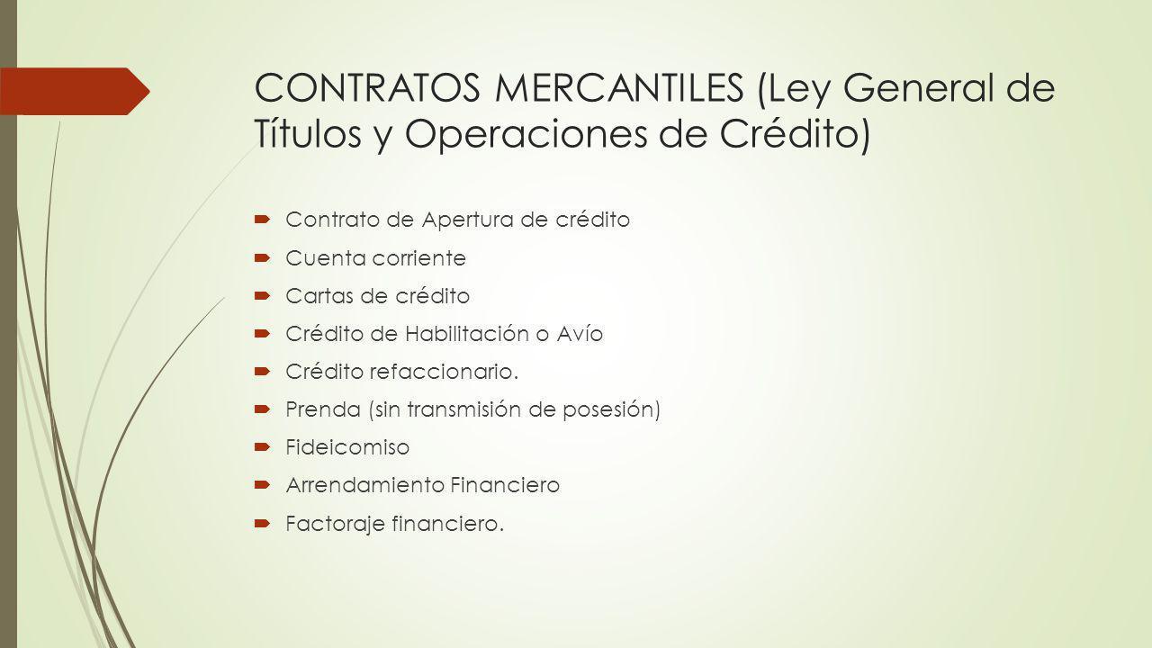 CONTRATOS MERCANTILES (Ley General de Títulos y Operaciones de Crédito)