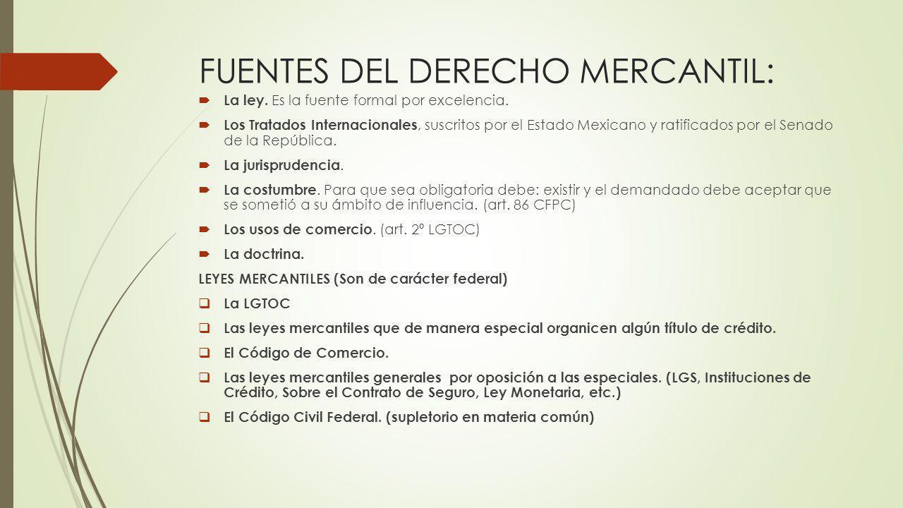 FUENTES DEL DERECHO MERCANTIL: