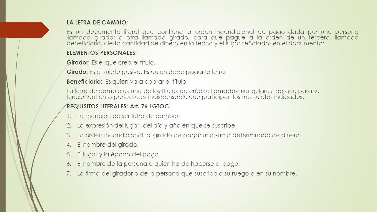 LA LETRA DE CAMBIO: