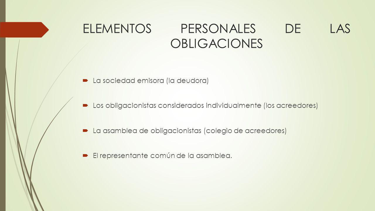 ELEMENTOS PERSONALES DE LAS OBLIGACIONES