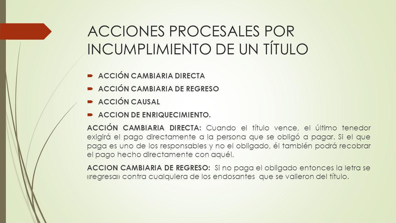 ACCIONES PROCESALES POR INCUMPLIMIENTO DE UN TÍTULO