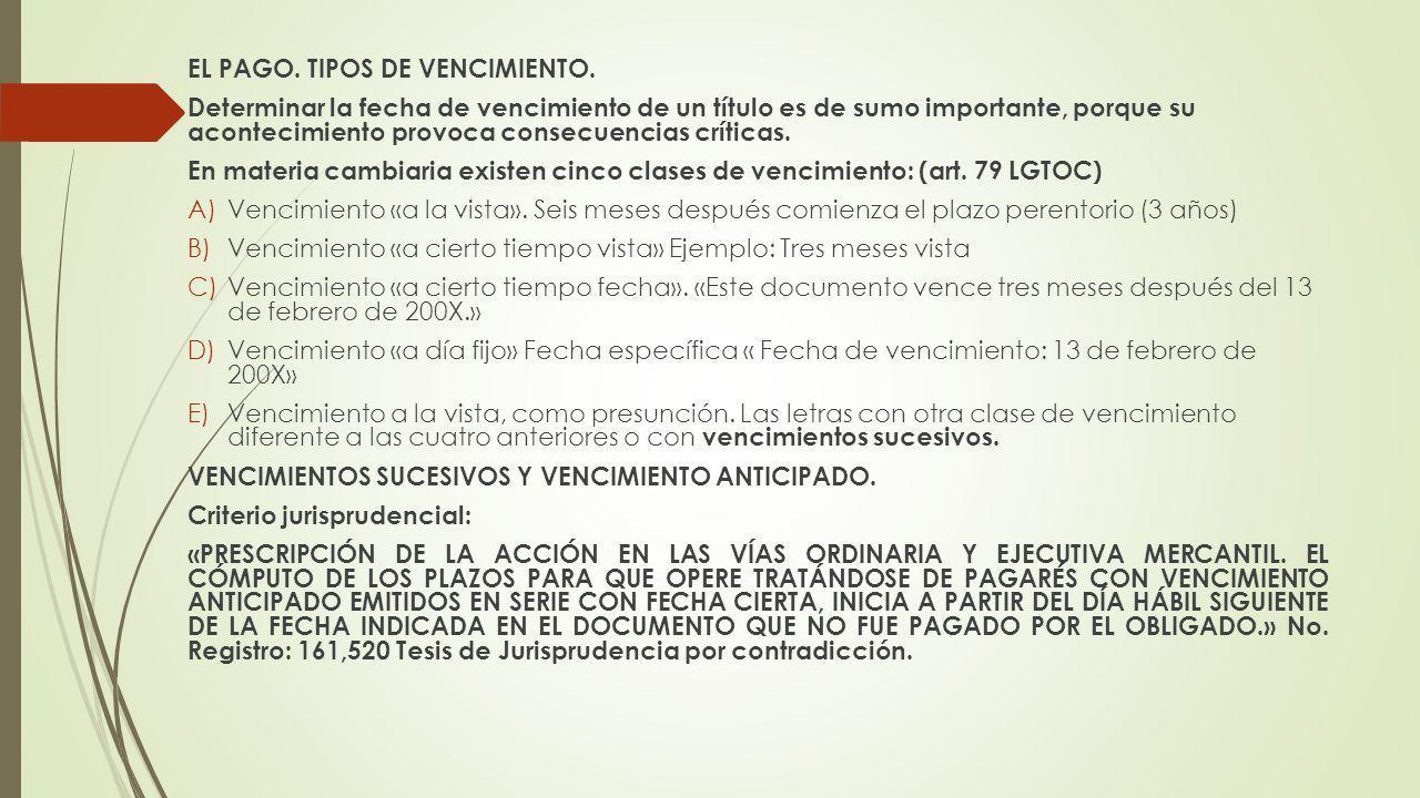 EL PAGO. TIPOS DE VENCIMIENTO.
