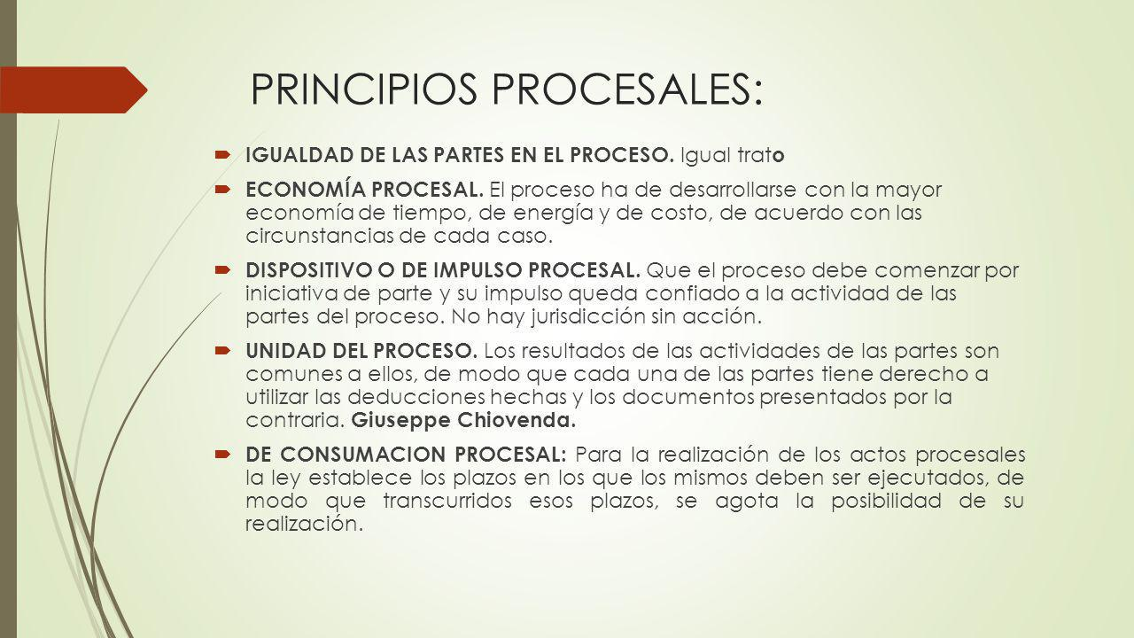 PRINCIPIOS PROCESALES: