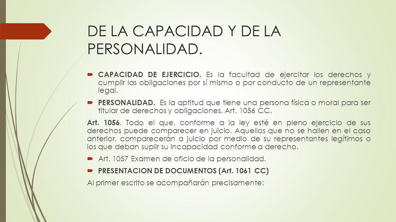 DE LA CAPACIDAD Y DE LA PERSONALIDAD.