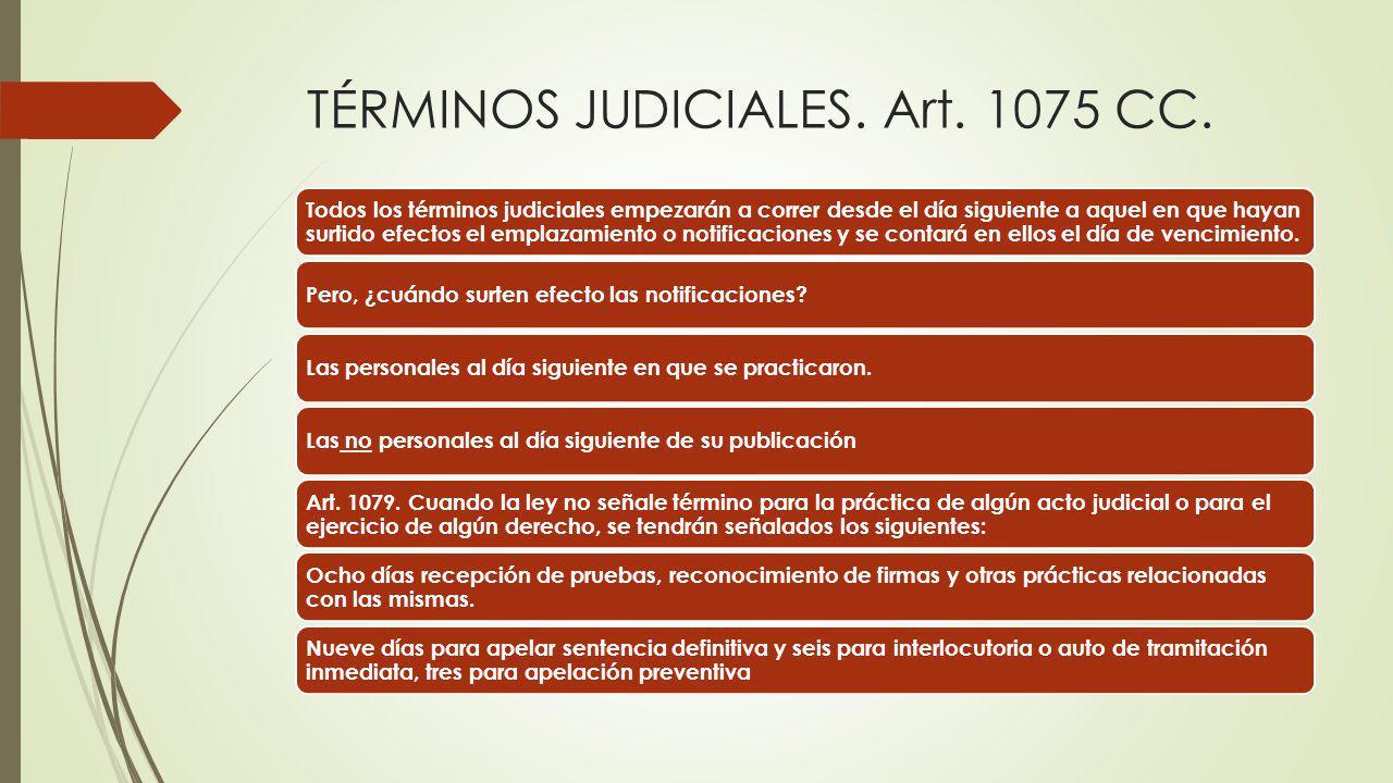 TÉRMINOS JUDICIALES. Art. 1075 CC.