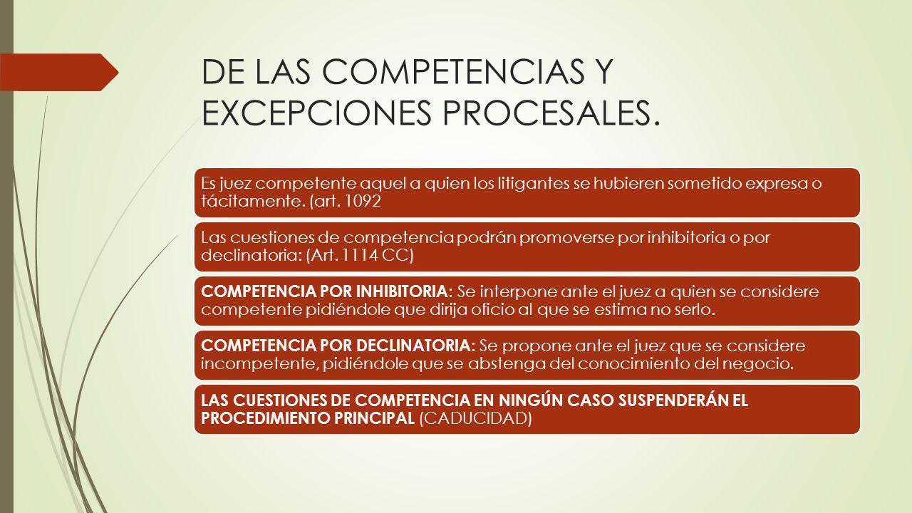 DE LAS COMPETENCIAS Y EXCEPCIONES PROCESALES.