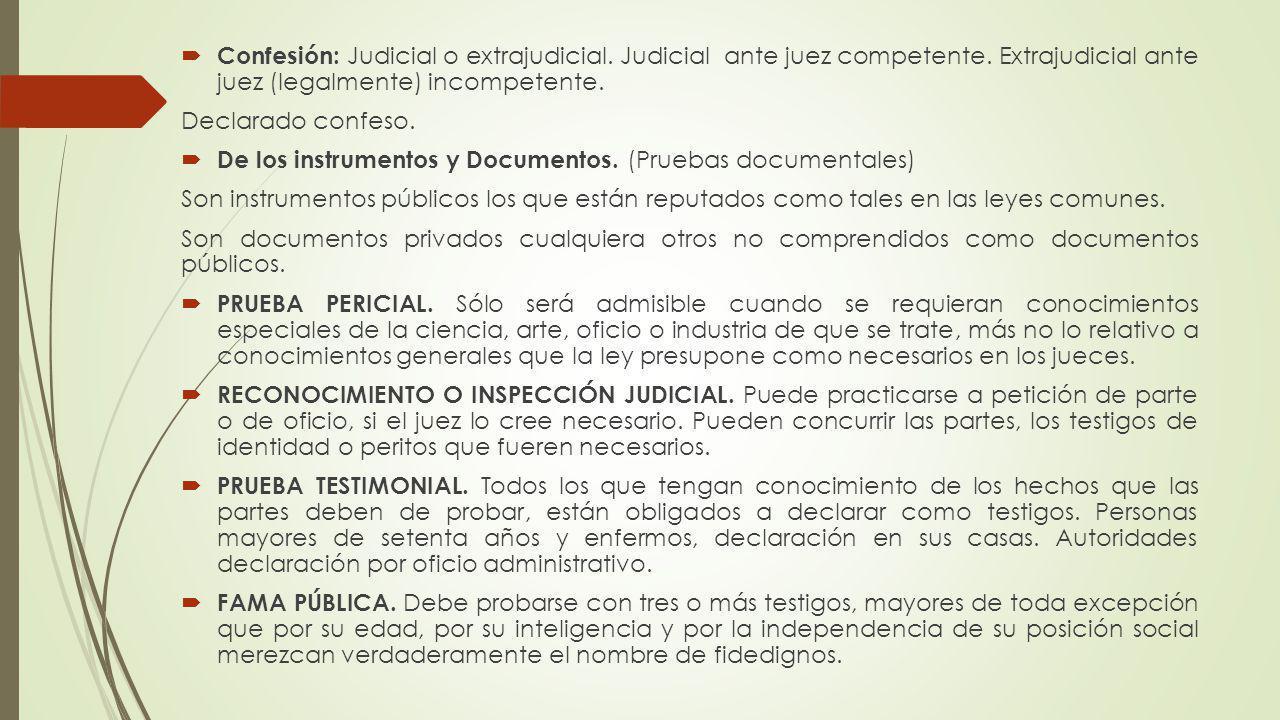 Confesión: Judicial o extrajudicial. Judicial ante juez competente