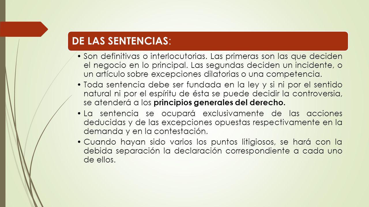 DE LAS SENTENCIAS: