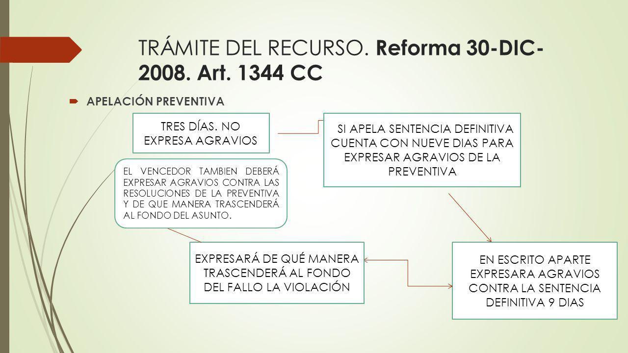 TRÁMITE DEL RECURSO. Reforma 30-DIC-2008. Art. 1344 CC