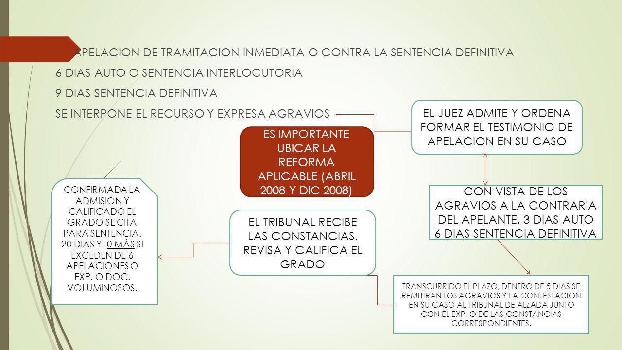 APELACION DE TRAMITACION INMEDIATA O CONTRA LA SENTENCIA DEFINITIVA