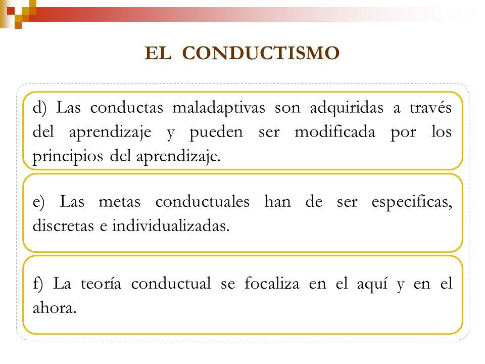 EL CONDUCTISMO d) Las conductas maladaptivas son adquiridas a través del aprendizaje y pueden ser modificada por los principios del aprendizaje.