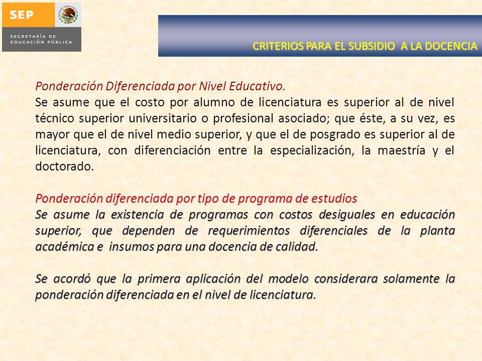 Ponderación Diferenciada por Nivel Educativo.