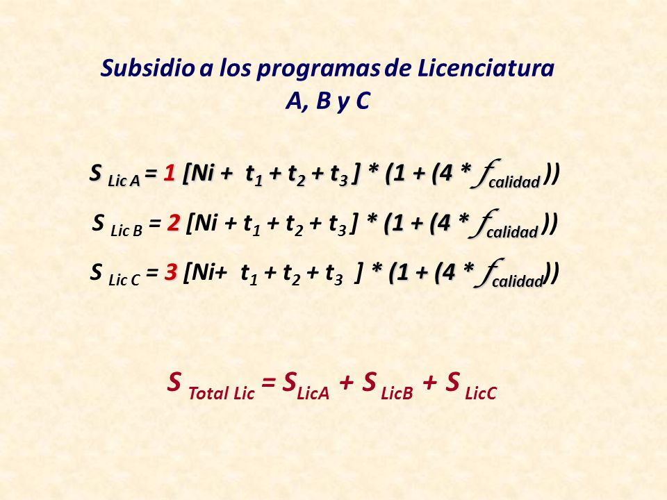 Subsidio a los programas de Licenciatura A, B y C