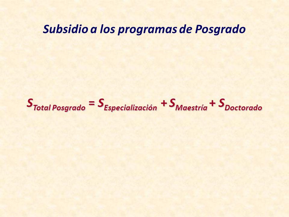 Subsidio a los programas de Posgrado