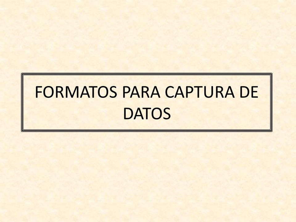 FORMATOS PARA CAPTURA DE DATOS